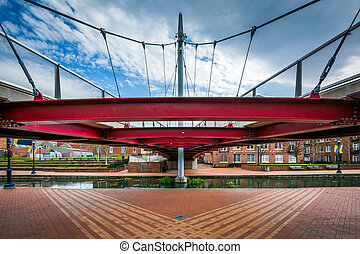 Modern bridge at Carroll Creek Linear Park, in Frederick, Maryland.
