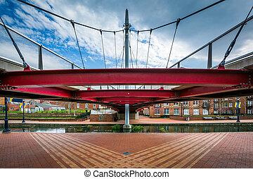 Modern bridge at Carroll Creek Linear Park, in Frederick,...