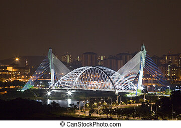 Modern Bridge at Night - Night image of a modern bridge at...