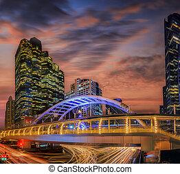 Modern bridge at train station in Bangkok