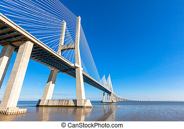 Modern bridge fragment: Vasco da Gama Bridge, Lisbon