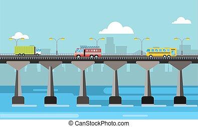 Modern bridge illustration city night view - Modern bridge...