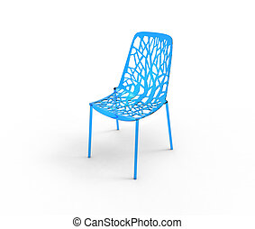 Modern Bright Blue Plastic Chair