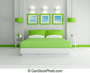 green bedroom - modern bright green bedroom - rendering -...