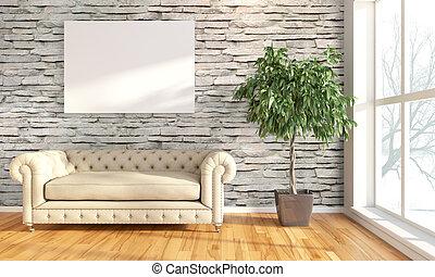 Modern bright interior . 3D render - Bright interior with...
