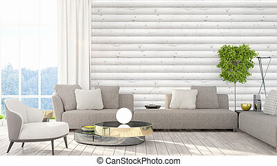 Modern bright interior . 3D rendering