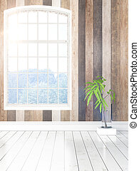 Modern bright interior with large window . 3D rendering