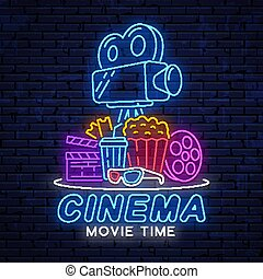 Modern bright neon sign for cinema.