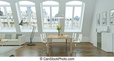 modern bright skandinavian interior design living room with concrete wall