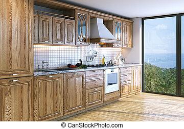 Modern bright wooden kitchen in villa on ocean island . 3D render