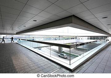 modern, buero, korridor