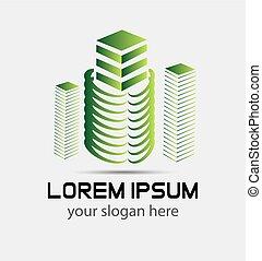 Modern building. 3d logo concept