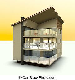 Modern building - 3D rendered Illustration.