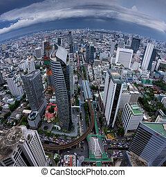 Modern building Birds eye view - Birds eye view of a modern ...