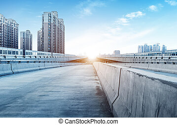 Modern building bridges - Empty part of the modern bridge...