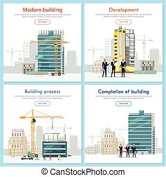 Modern Building. Development. Building Process.