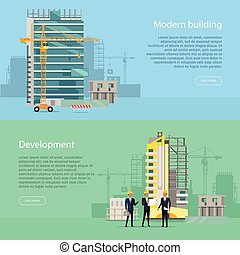 Modern Building. Development. Collection of Icons