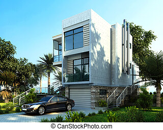 Modern building exterior with garden and trees. With a car parked.