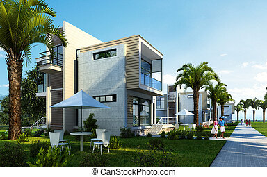 Modern building exterior with garden, palms and trees. - ...