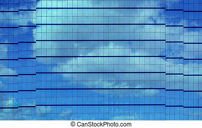 Modern Building Facade with Reflection of Clouds and Sky