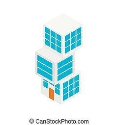 Modern building icon, isometric 3d style