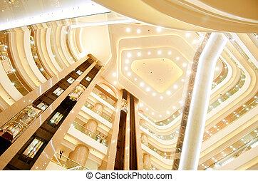 Modern building interior, luxury decoration.