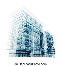 Modern building. Isolated on white