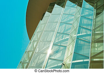 modern building of architecture with daylight reflection