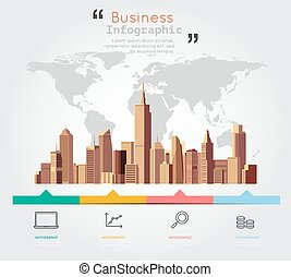 Modern building with business infographic