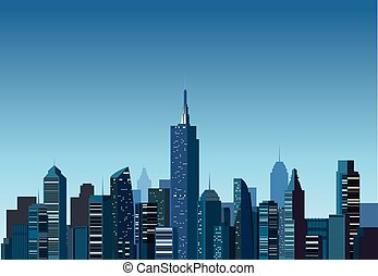 Modern building with Night city background