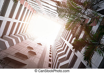 Modern building with sunlight for business concept