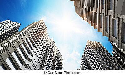 Modern buildings against blue sky. 3D illustration