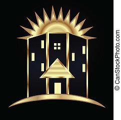 Modern buildings and sun logo