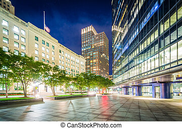Modern buildings at night at Copley, in Back Bay, Boston,...