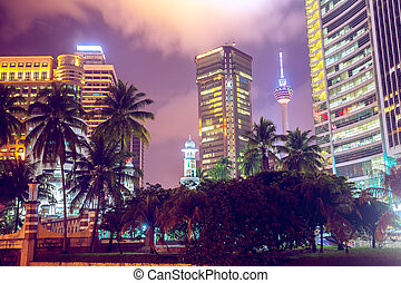 modern buildings at twilight