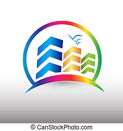 Modern buildings colorful logo