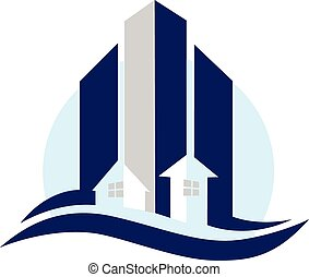Modern buildings houses logo