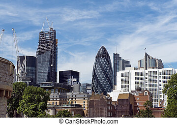 Modern buildings in London and building, called Swiss Re or...