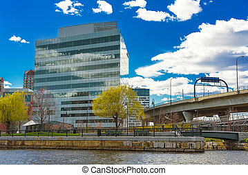 Modern Buildings in North Point Park and Charles River