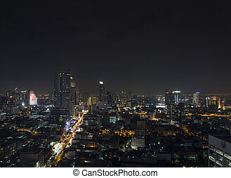 modern buildings in silom area of bangkok thailand at night