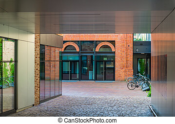 modern buildings in the city of brick and bicycle parking