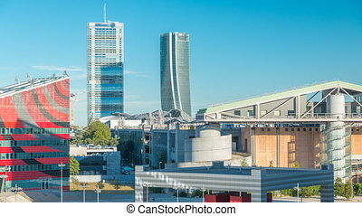 Modern buildings in the new area of Portello timelapse, Milan, Italy