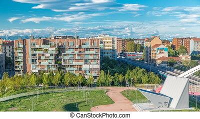 Modern buildings in the new area of Portello timelapse,...