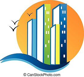 Modern buildings logo - Modern buildings with sunny beach