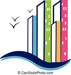Modern buildings logo vector design