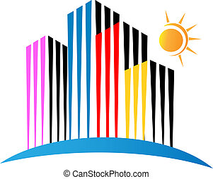 Modern buildings logo vector