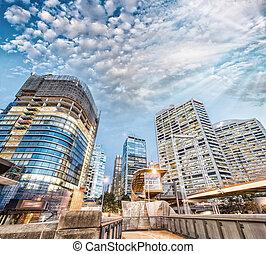 Modern buildings of Darling Harbour, Sydney. City night skyline
