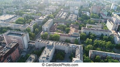 Modern buildings on the background of the old city, top view