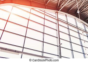 Modern buildings. Window design. Light and shadow. Morning sun. Interior