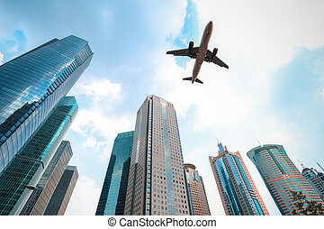 modern buildings with airplane